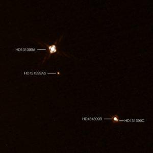 Sistema HD 131399, imagen de SPHERE