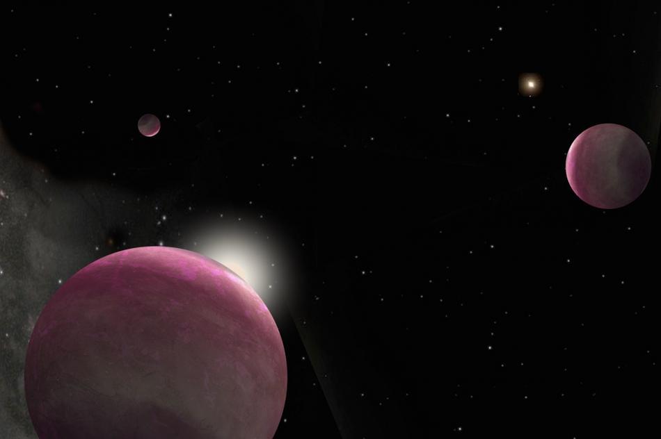 Planetas gigantes, sistema binario