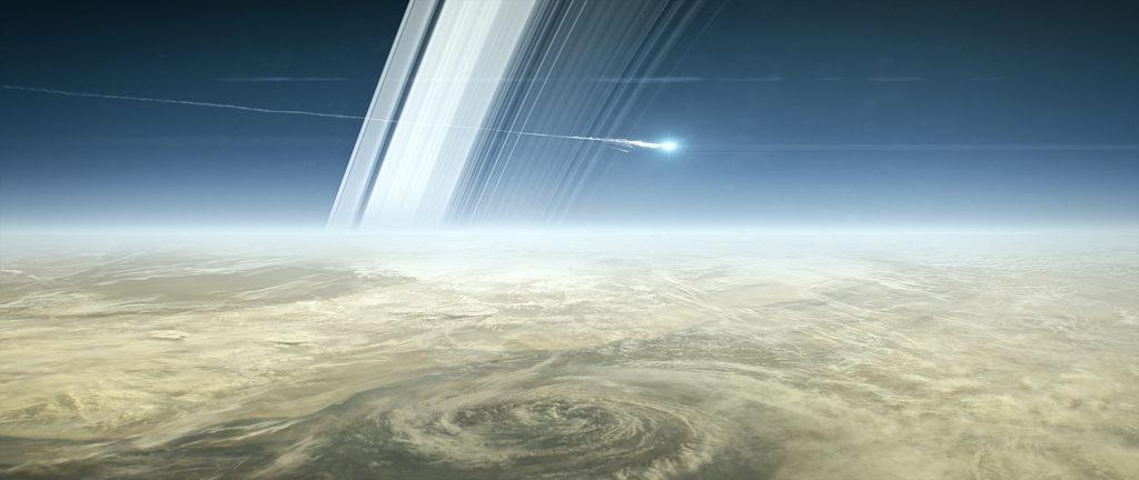 Cassini ingresando en atmósfera de Saturno